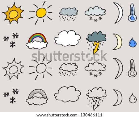 Doodle icon set illustration - weather symbols collection with suns, clouds, storms and snow