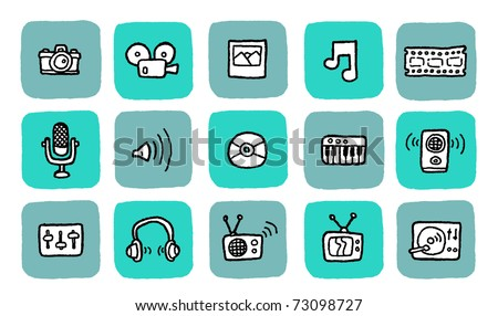 doodle icon set - media - stock vector