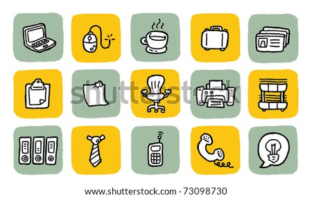 doodle icon set - office - stock vector