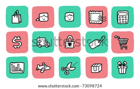 doodle icon set - shopping - stock vector