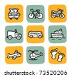 doodle icon set - vehicle - stock vector