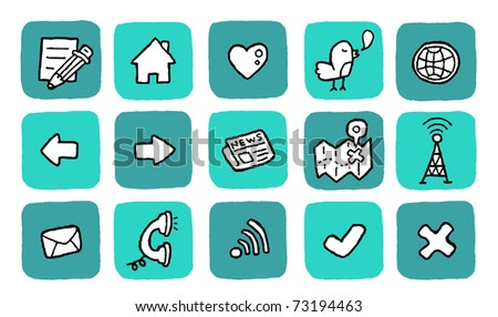 doodle icon set - website - stock vector