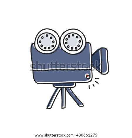 doodle icon. videocamera. vector illustration