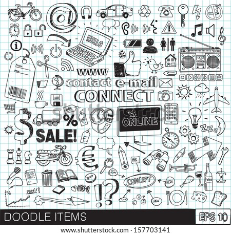 Doodle icons - stock vector