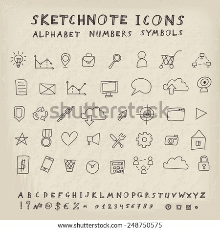 Doodle Icons, Alphabet and Symbols Set. Vector skethnote collection - stock vector