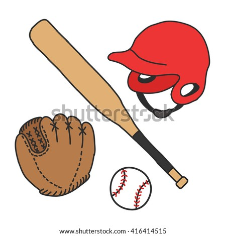doodle icons. baseball set. vector illustration - stock vector