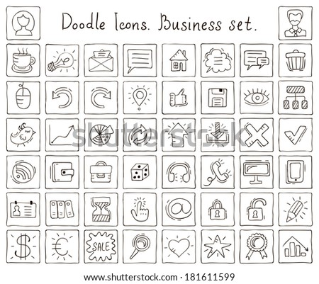 Doodle icons. Business set. Vector illustrations - stock vector