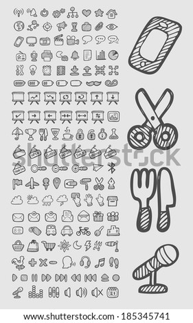 Doodle Icons. Cute and useful icons, hand drawing style. Good use for your web icons or any design you want. Easy to use, edit or change color. Each object is a group. - stock vector