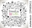 Doodle 100 Icons. Hand drawn, various scetch. Universal set isolated. Vector  - stock vector