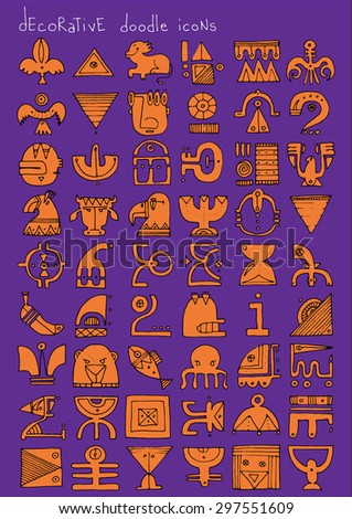 doodle icons illustration collection decorative SIGNS color M