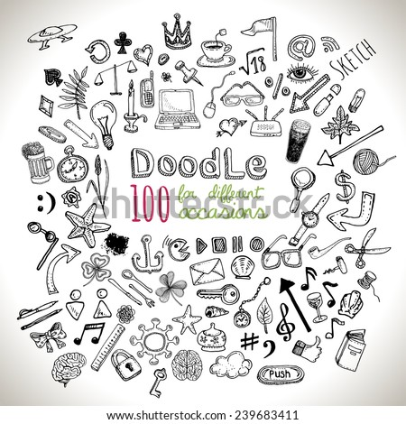 Doodle 100 Icons. Universal set isolated. Vector  - stock vector