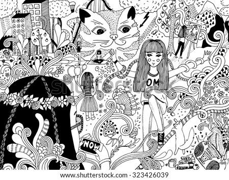 doodle illustration - stock vector