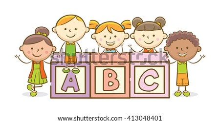 Doodle illustration: Alphabet block spelling ABC - stock vector