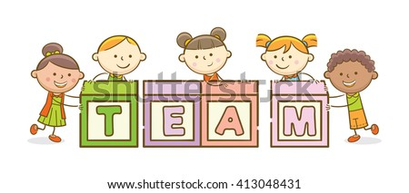 Doodle illustration: Alphabet block spelling Team - stock vector