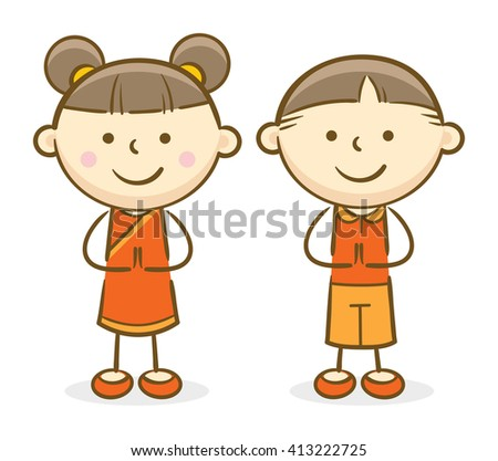 Doodle illustration: Asian kids making a greeting gesture and smiling