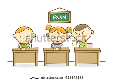 Doodle illustration: Boy cheating on another student answer - stock vector