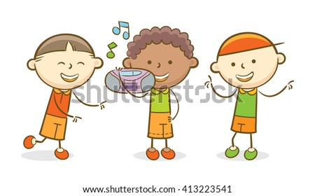 Doodle illustration: Boy holding a boombox while the other kids dancing - stock vector