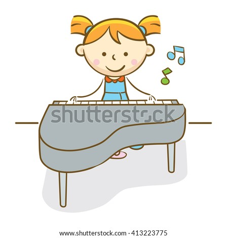 Doodle illustration: Girl playing a classical piano
