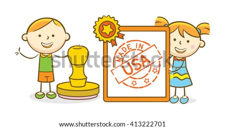 Doodle illustration: Kids holding and stamping a paper with Made In USA stamp - stock vector