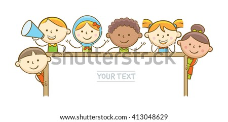 Doodle illustration: Kids holding horizontal whiteboard - stock vector