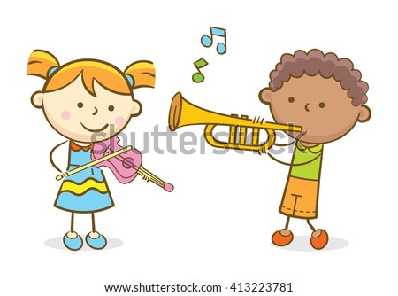 Doodle illustration: Kids playing violin and trumpet - stock vector