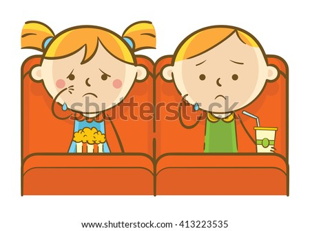 Doodle illustration: Kids watching sad romance movie in theatre