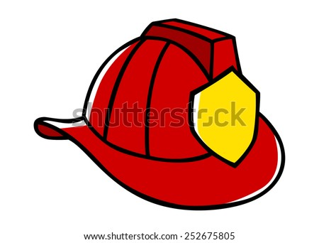 Doodle illustration of a firefighter helmet - stock vector