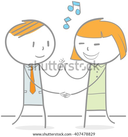 Doodle illustration of business people dancing - stock vector