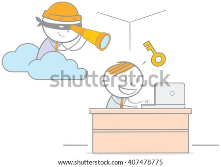 Doodle illustration of hacker spying on businessman computer - stock vector