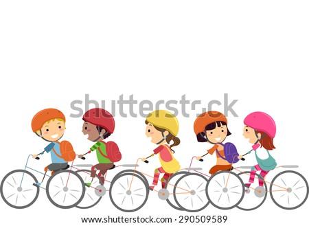 Doodle Illustration of Little Kids Wearing Helmets While Biking - stock vector