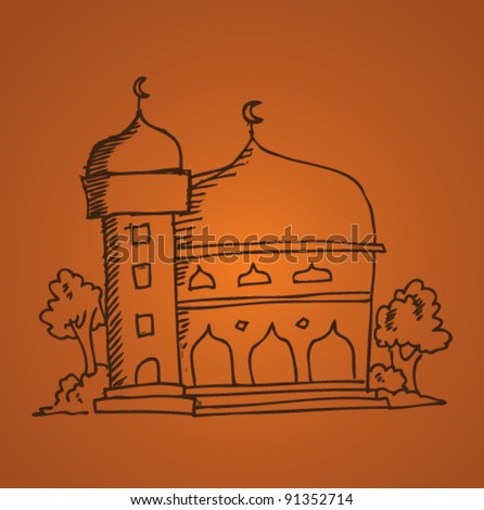 doodle illustration of mosque - stock vector