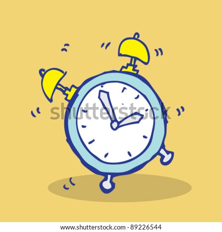 doodle illustration of wake timer coloring - stock vector