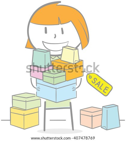 Doodle illustration of woman holding shopping items