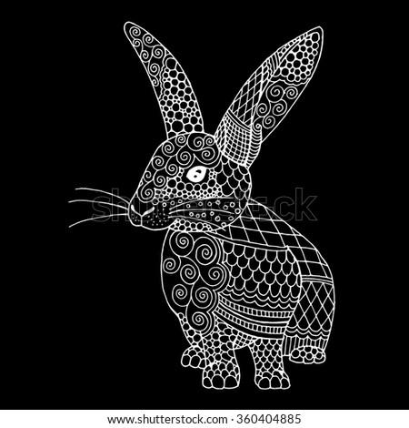 Doodle illustration on an bunny, Rabbit illustration  - stock vector