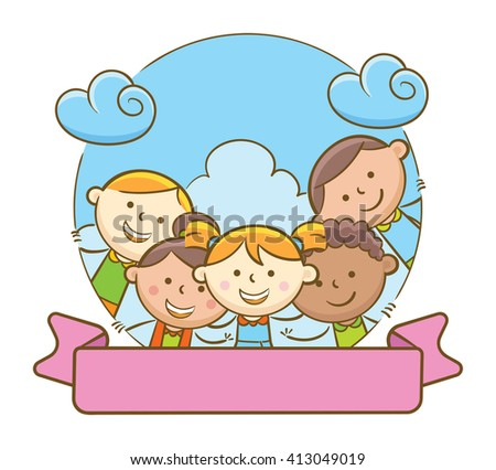 Doodle illustration: Selfie kids and blank ribbon - stock vector