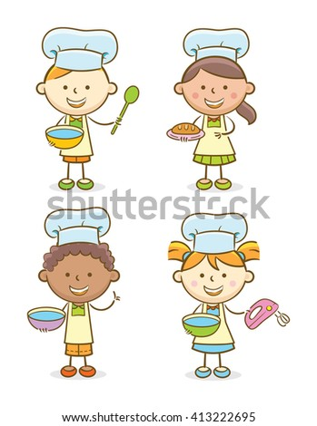 Doodle illustration: Set of kids with chef's hat - stock vector