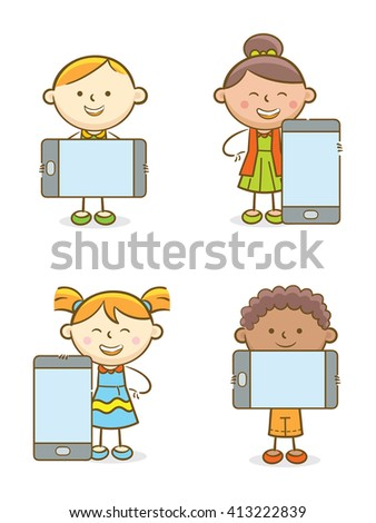 Doodle illustration: Set of kids with mobile phones - stock vector