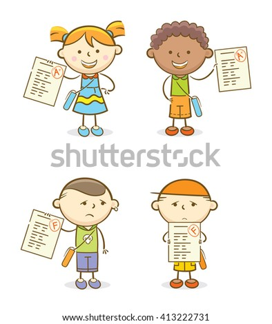 Doodle illustration: Set of kids with their test scores
