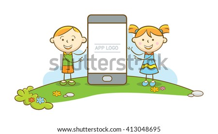 Doodle illustration: Two kids making a presentation on a mobile phone. - stock vector