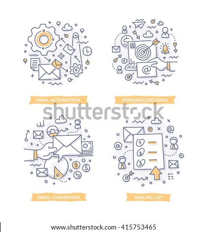Doodle illustrations of email automation, targeting and conversion. Concepts of email marketing for telling brand story, explaining how-it-works process, showing company features - stock vector
