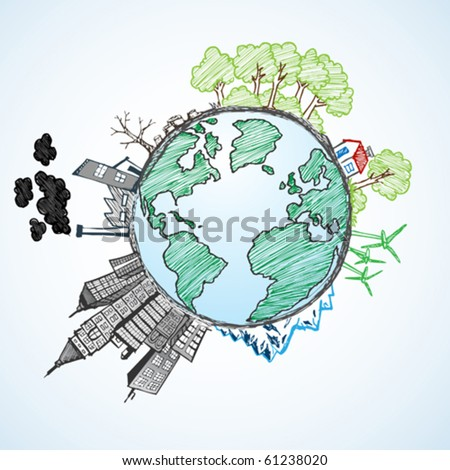 doodle image of earth and environment - stock vector