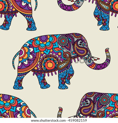 Doodle indian elephant seamless pattern. Vector illustration - stock vector