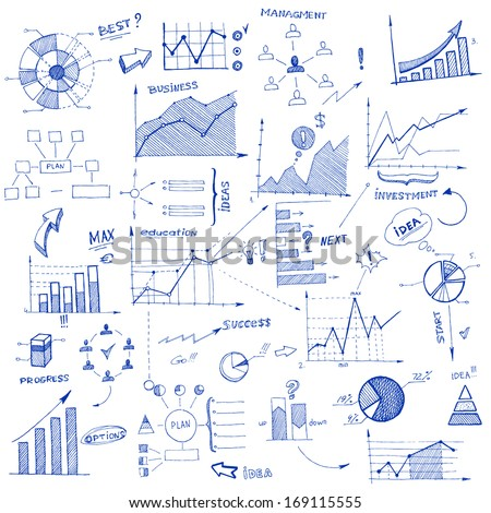 Doodle infographic design elements isolated vector illustration - stock vector