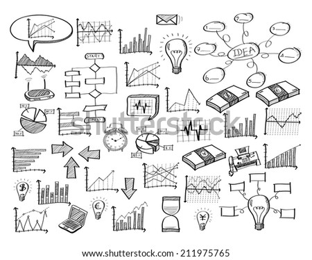 Doodle Infographic Diagram Finance Graph, Vector Illustration EPS 10. - stock vector