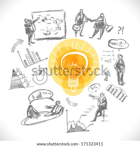 Doodle infographics background with business concepts vector illustration - stock vector