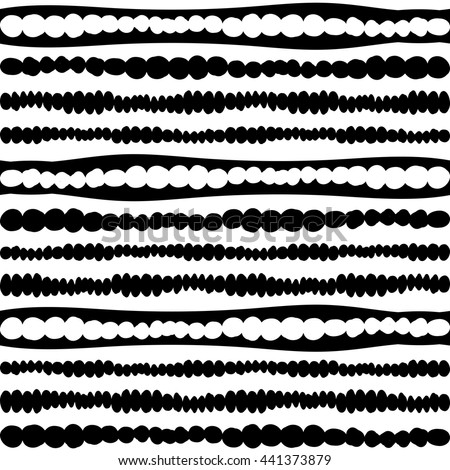 Doodle inky white and black hand drawn abstract circles and wavy stripes pattern. Vector seamless geometric ornament. Borders and brush lines set. - stock vector
