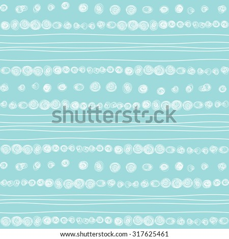 Doodle inky white and blue hand drawn abstract circles and wavy stripes pattern. Vector seamless geometric ornament. Borders and brush lines set. - stock vector