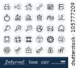Doodle Internet and finance icons set. Hand drawn sketch illustration isolated on white background - stock vector