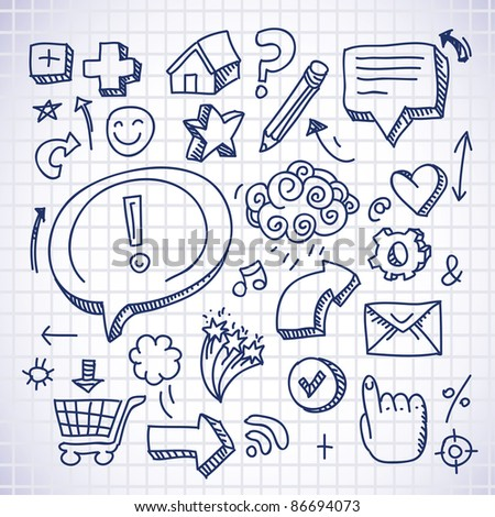 doodle internet icons on white background - vector illustration