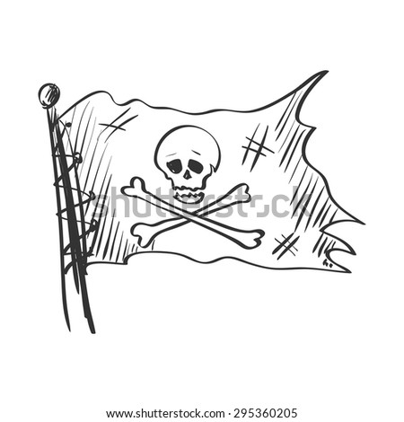 doodle Jolly Roger, isolated in white background, excellent vector illustration, EPS 10